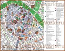 Карта Валенсии на русском языке с достопримечательностями и отелями