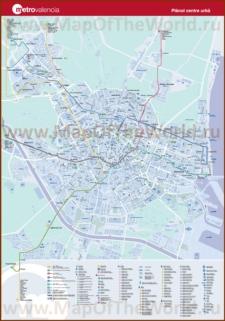 Подробная карта метро Валенсии с достопримечательностями