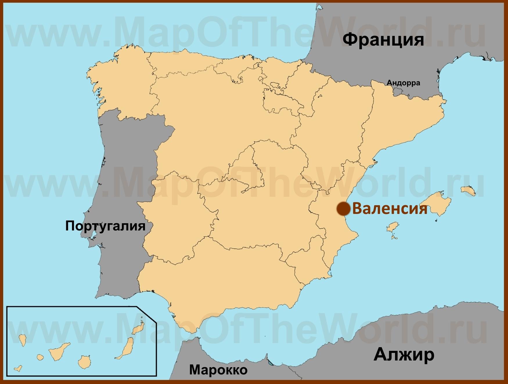 Валенсия на карте Испании Валенсия Испания Карта