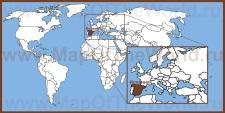 Испания на карте мира и Европы