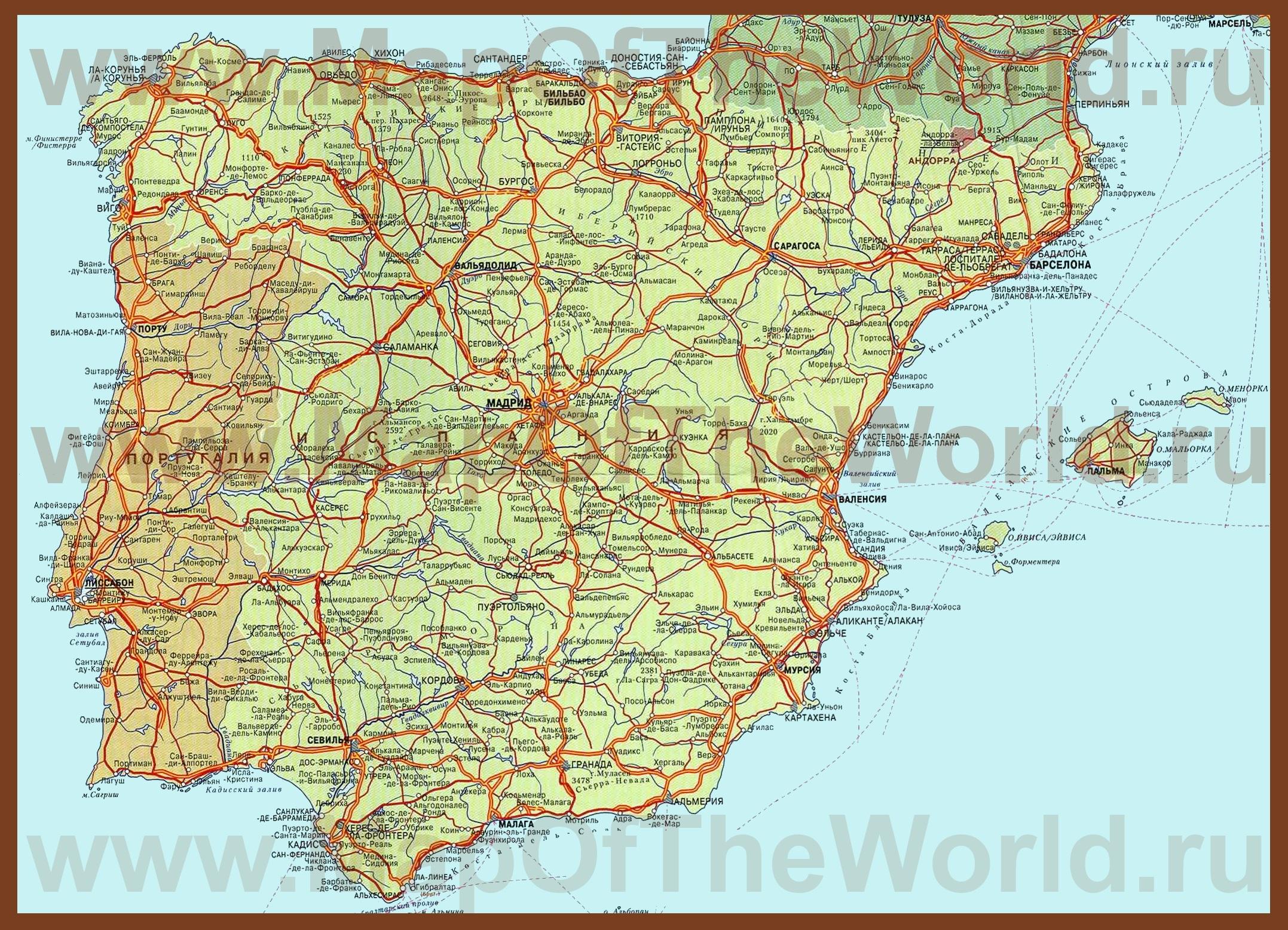Карта испании с городами на русском