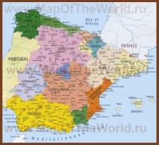 Карта Испании по регионам с провинциями
