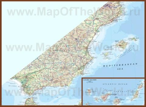 Карта побережья Испании с пляжами и курортами