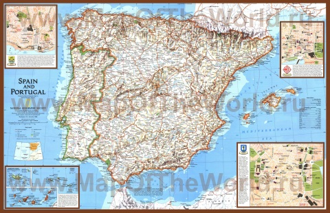 Подробная карта Испании с городами