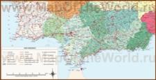 Подробная карта региона Андалусия с городами