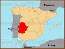 Эстремадура на карте Испании
