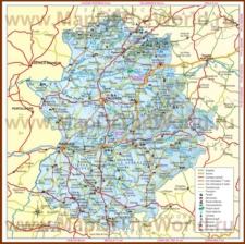 Подробная карта региона Эстремадура