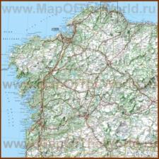 Подробная карта региона Галисия