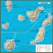 Карта Канарских островов с достопримечательностями