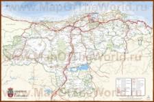 Подробная карта региона Кантабрия