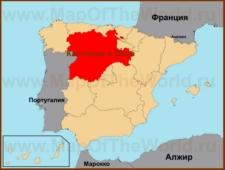 Кастилия и Леон на карте Испании