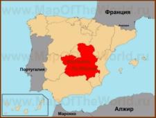 Кастилия - Ла-Манча на карте Испании