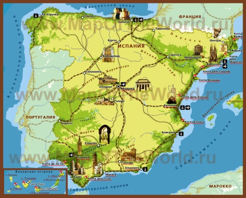 Туристическая карта Испании с курортами и достопримечательностями