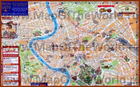 Подробная туристическая карта Рима с улицами
