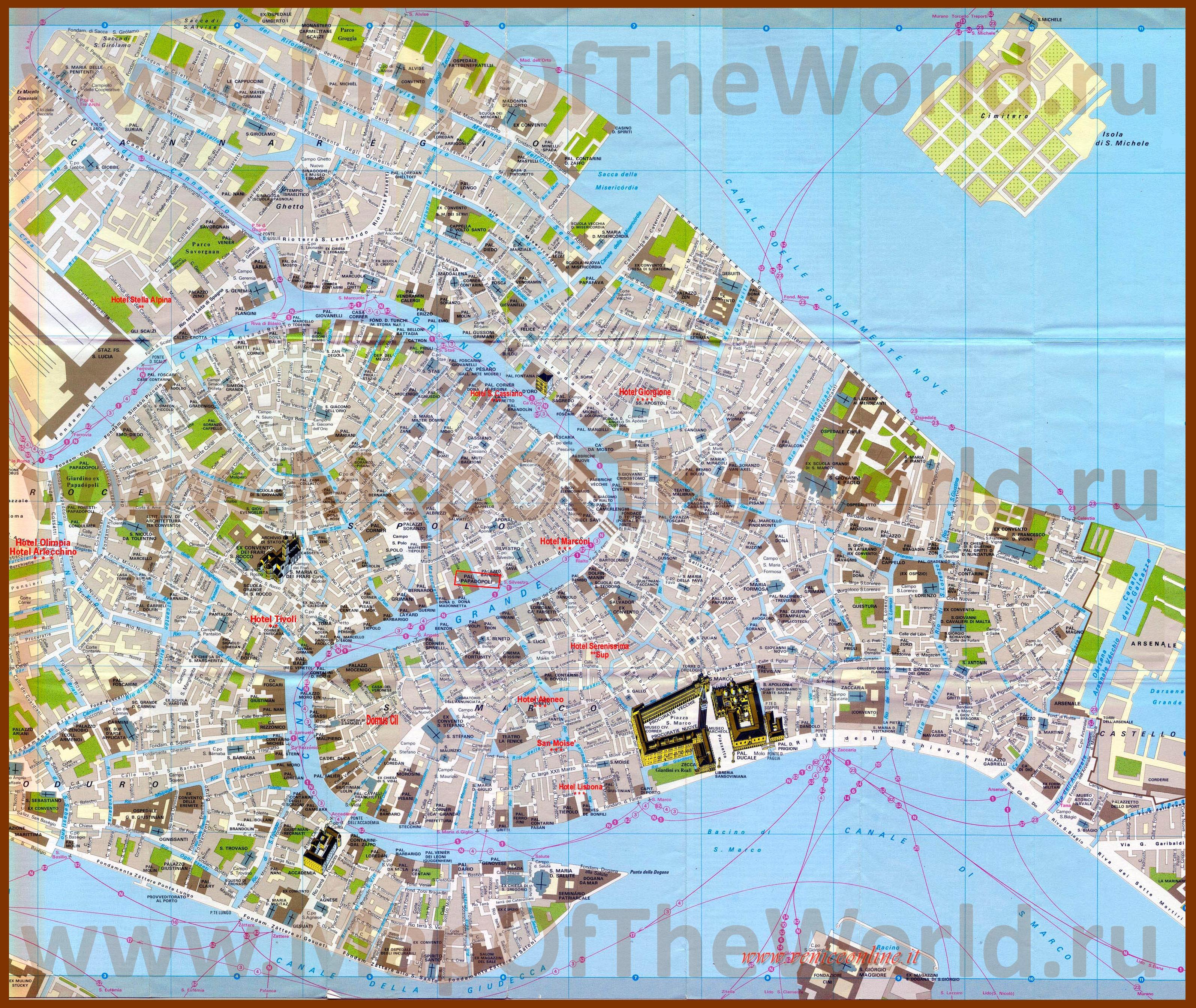 Turisticheskaya Karta Venecii S Dostoprimechatelnostyami