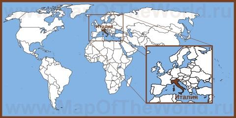 Италия на карте мира и Европы