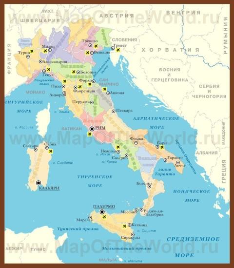 Карта Италии с провинциями