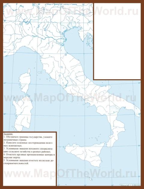 Контурная карта италии