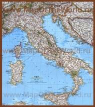 Подробная карта побережья Италии с курортами