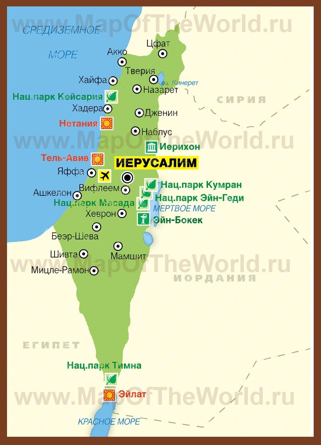 Карта курортов израиля