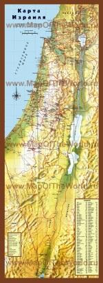 Подробная карта израиля с городами