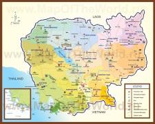 Туристическая карта Камбоджи с курортами и достопримечательностями