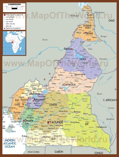 Подробная карта Камеруна