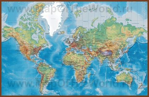 Физическая карта мира с дорогами