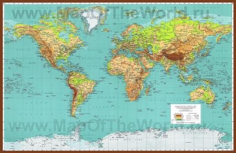 Физическая карта мира с городами