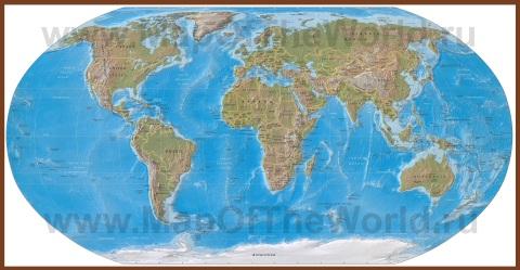Подробная физическая карта мира