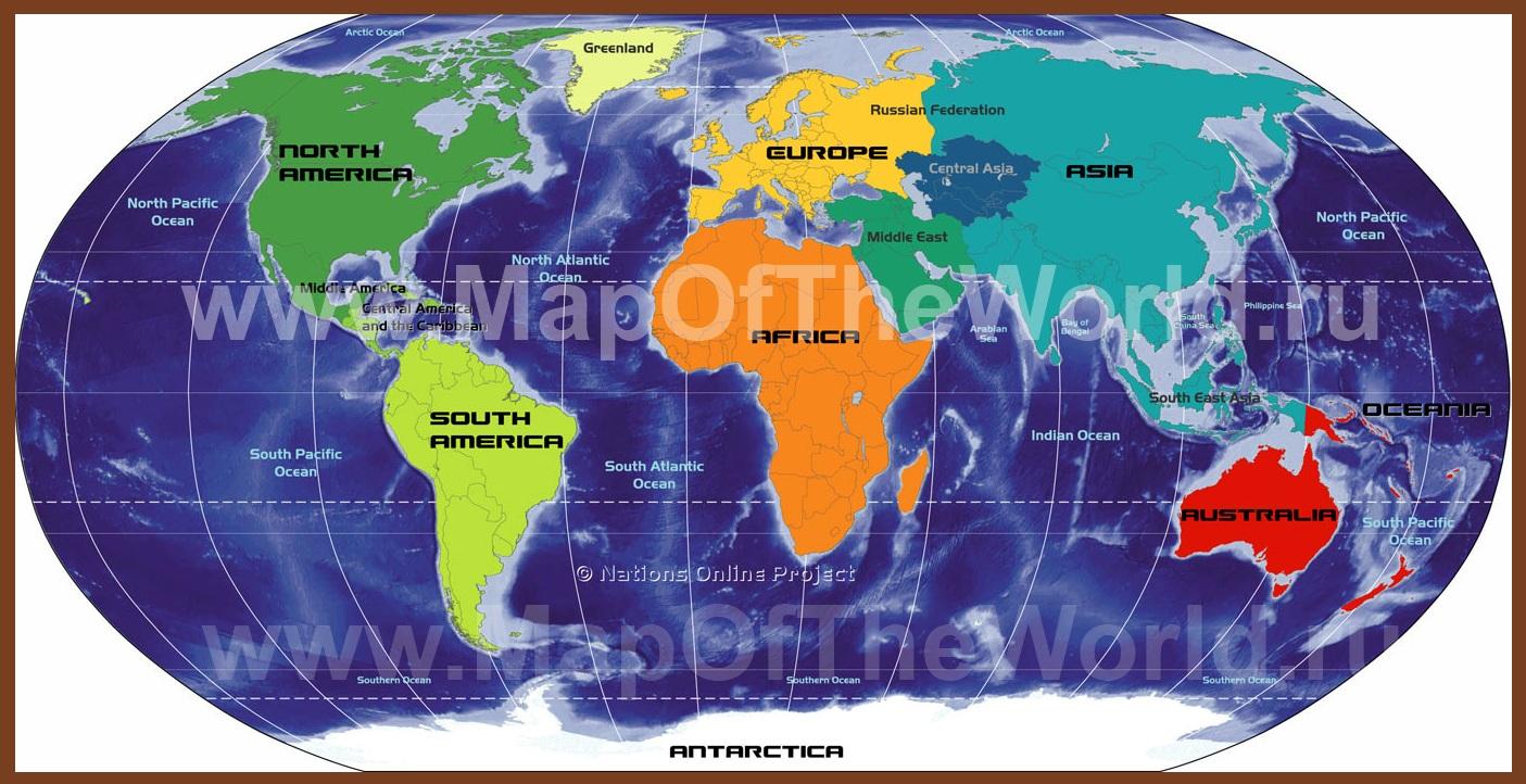 ... части света на карте мира