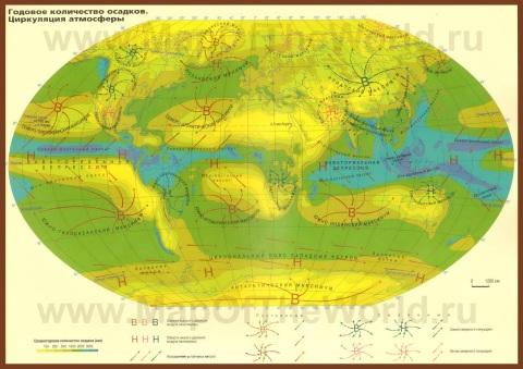 Осадки на карте мира
