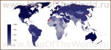 Карта численности пользователей интернета по странам мира