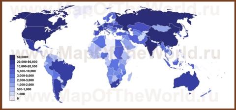 Карта длины железнодорожной сети по странам мира