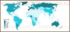 Карта потребления алкоголя на человека по странам мира