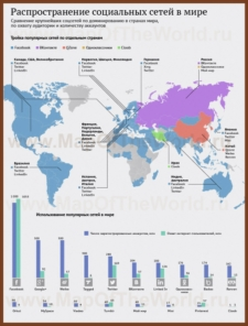 Карта распространения социальных сетей по странам мира
