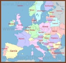 Самые распространенные фамилии стран на карте Европы