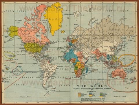 Историческая карта мира (1900 год)