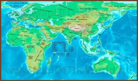 Историческая карта мира (500 год нашей эры)