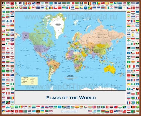Современная политическая карта мира с флагами