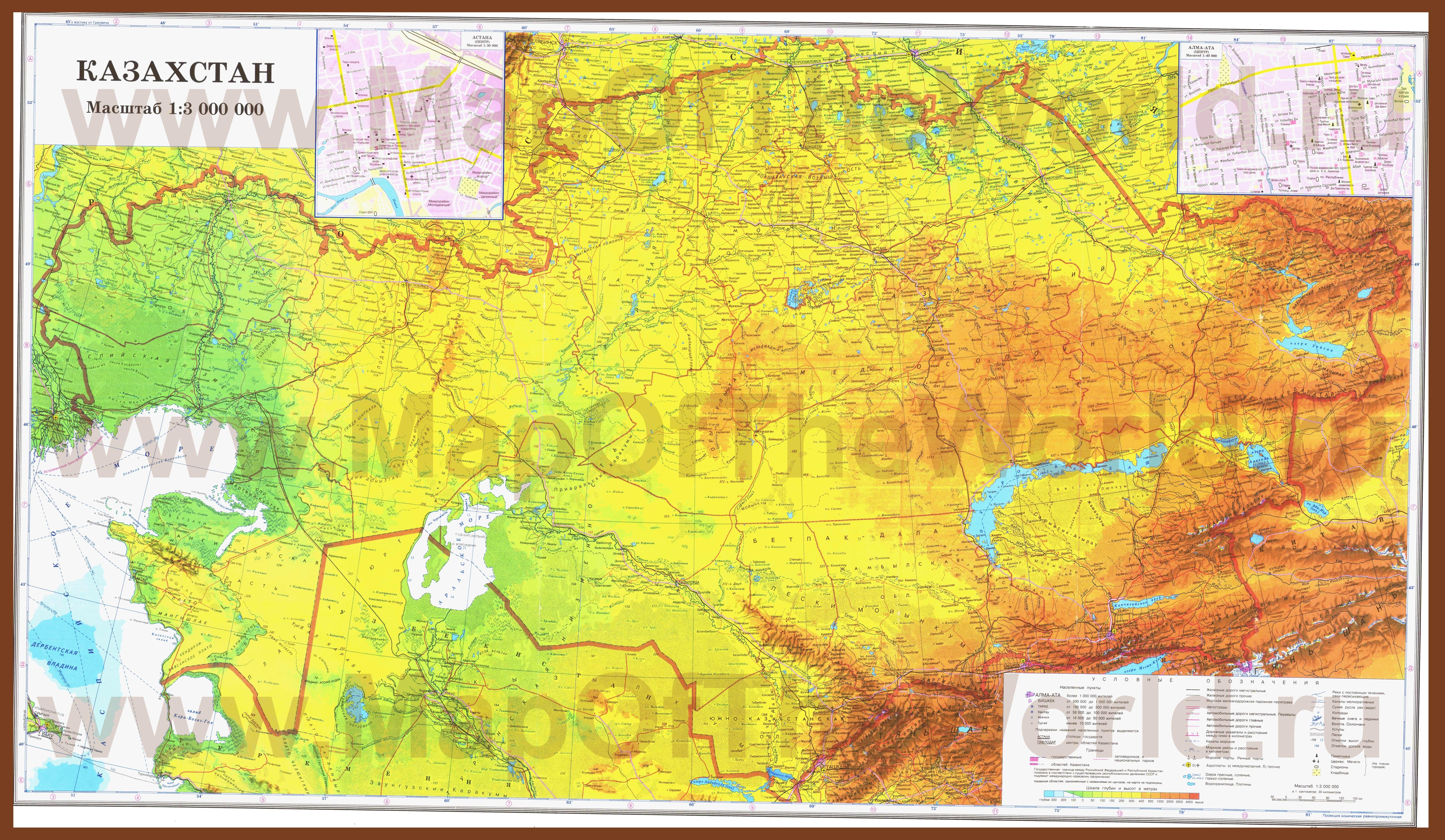 Подробная карта казахстана