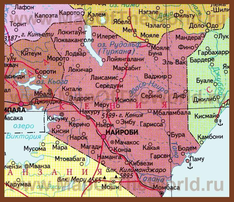 Карта кении на русском языке