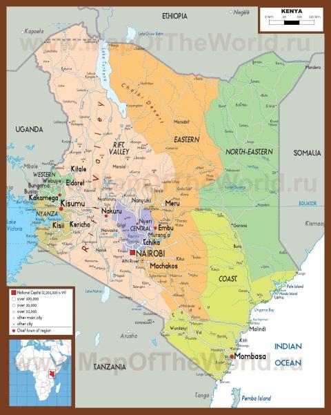 Подробная карта Кении