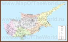 Подробная карта острова Кипр