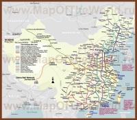 Карта железных дорог Китая