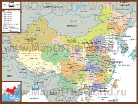 Политическая карта Китая с провинциями