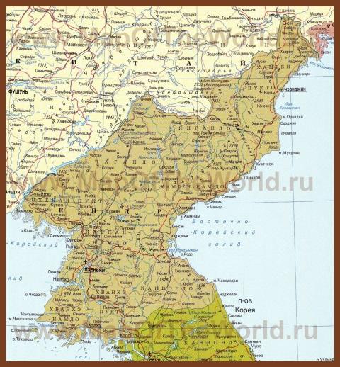 Карта Северной Кореи (КНДР) на русском языке