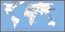 Северная Корея (КНДР) на карте мира