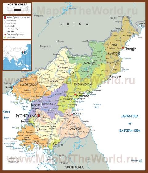 Подробная карта Северной Кореи (КНДР)