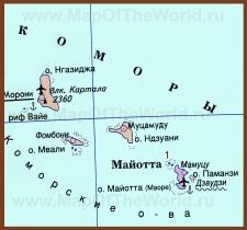 Карта Коморских островов на русском языке